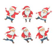 Collage Santa Claus watercolor illustration. Santa Claus in different poses. Happy new year illustration. Christmas fun