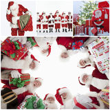 Collage of Santa Clauses Stock Photography