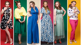 Collage of savory women in retro dresses Royalty Free Stock Photos