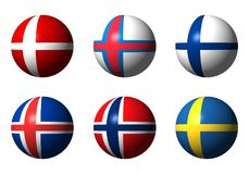 Collage of Scandinavian flags. Without labels Stock Photography