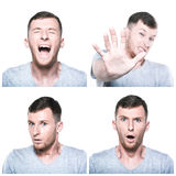 Collage of scared, shocked,stressed face expressions Royalty Free Stock Photo