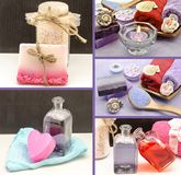 Collage of scented soaps. And hygiene products Stock Photos