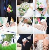 Collage 9 schöne Hochzeitsfotos stockfotografie