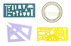 A collage of the school dileek and a protractor Stock Images