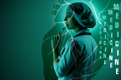 Collage on scientific topics. Young female doctor standing against heart background. Collage on scientific topics. Young female doctor standing on heart royalty free stock photography