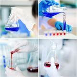 Collage of scientist examining chemical in beaker Royalty Free Stock Images