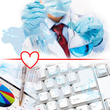 Collage with scientist in laboratory Royalty Free Stock Images