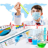 Collage with scientist in laboratory Stock Photo