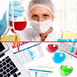 Collage with scientist in laboratory Royalty Free Stock Photos
