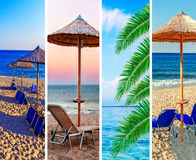 Collage sea beach picture background. Close stock photo