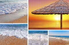 Collage sea beach picture background. Close stock images