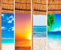 Collage sea beach picture background. Close stock image