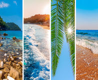 Collage sea beach picture background. Close royalty free stock image