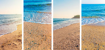 Collage sea beach picture background. Close royalty free stock photos