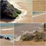 Collage of sea beach pictures. Set of summer vacation holiday images Royalty Free Stock Photo