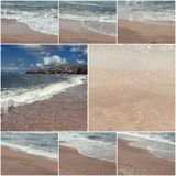 Collage of sea surf images. Summertime. Wild nature. Toned images with copyspace Stock Photos