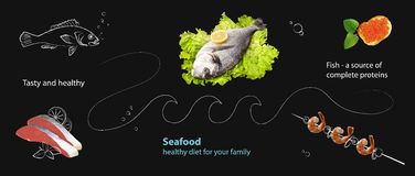 Collage with seafood and graphics on a black slate  background. Stock Images