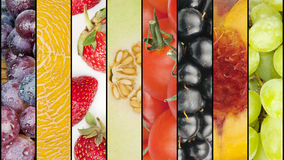 Collage of seasonal summer fruits Stock Photo