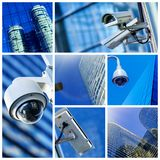 Collage of security camera and urban video Stock Photos