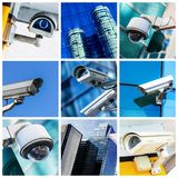 Collage of security camera and urban video Royalty Free Stock Photos
