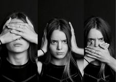 Collage see no evil, hear , speak . . The girl with long hair in b W Royalty Free Stock Image