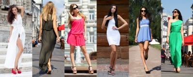 Collage seis mujeres en vestido del color fotos de archivo libres de regalías