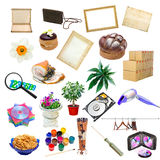 Collage semplice degli oggetti isolati immagini stock