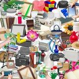 Collage semplice degli oggetti isolati Fotografie Stock Libere da Diritti