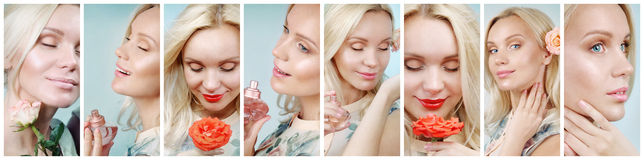Collage of sensual tender delicate woman enjoying her perfume Royalty Free Stock Photography