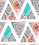 Collage senza cuciture strutturato a mano libera del modello dell'estratto disegnato a mano di vettore con il motivo della zebra, Immagine Stock