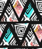 Collage senza cuciture strutturato a mano libera del modello dell'estratto disegnato a mano di vettore con il mottif della zebra, Fotografie Stock Libere da Diritti