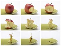 Collage of the sequence of eating a red apple. Royalty Free Stock Photo