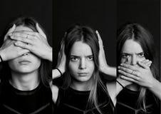 Collage ser ingen ondska, hör, talar Flickan med långt hår i b W Royaltyfri Bild