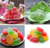 Collage, set bright homemade fruit jujube marmalade Stock Image