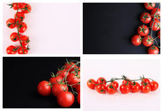 Collage set of Cherry tomatoes on white and black background. Cooking, Healthy eating concept. Royalty Free Stock Photography
