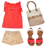Collage set of female summer clothes.Bag,shoes on heels,modern w stock photos