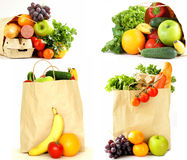 Collage, set food shopping bag stock images
