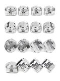 Collage of a set of four polished chrome forged pistons Stock Images