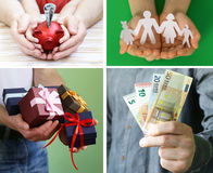 Collage, set hands with money, gifts. And family values Stock Photos