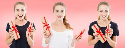 Collage,set happy women with gift boxes on pink background, holiday concept royalty free stock photography