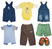 Collage set of male kid clothes. Fashion modern male baby clothes.Collage set of boy kid wear Stock Photos