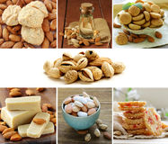 Collage set nuts, almond oil, cookies. And marzipan Stock Photography