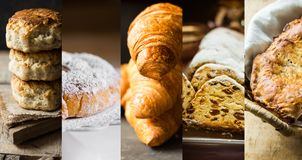 Collage set pastry of various kinds. Croissants, Danish swirl, ensaimada, stollen, scones, apple pie calzone. Royalty Free Stock Image