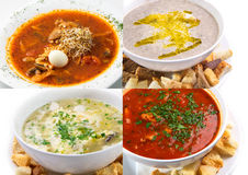 Collage of the set of soups, dietary Royalty Free Stock Photos