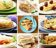 Collage set thin pancakes with different syrups Royalty Free Stock Image