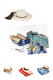 Collage Set of various clothes and accessories for women isolate Royalty Free Stock Photo