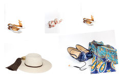 Collage Set of various clothes and accessories for women isolate Royalty Free Stock Photography