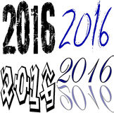 2016 collage. Set of the words 2016 in different writing on a white background vector illustration