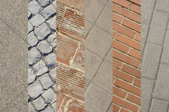 Collage of several bricks walls and pavement floors. Different t Stock Photography