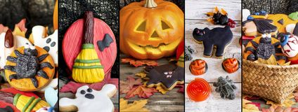 Collage with several images halloween cookies. Royalty Free Stock Image
